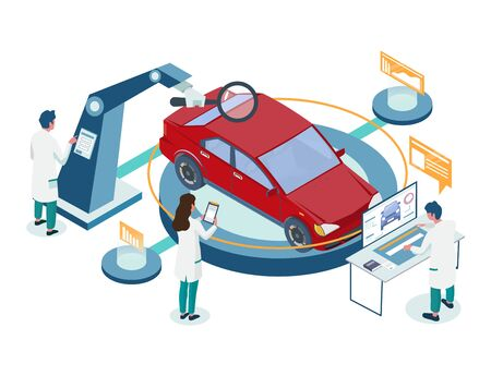 Car repair auto diagnostic service vector illustration. Metaphorical isometric composition with male and female characters in white gowns testing red car like doctors making diagnosis.  イラスト・ベクター素材