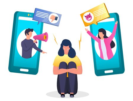 Depressed girl crying sitting on the floor because of receiving dislike and insulting mobile phone message, vector illustration. Cyber bullying, internet trolling concept for web banner, website page.