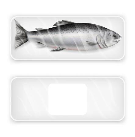 Paquet de poisson rouge saumon, illustration vectorielle isolée réaliste. Blanc blanc et avec pack de poisson frais, ensemble de maquette de plateau en plastique alimentaire. Produit de fruits de mer de luxe pour la cuisson du modèle publicitaire. Vecteurs
