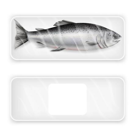 Salmon red fish package, vector realistic isolated illustration. White blank and with fresh fish pack, food plastic tray mockup set. Luxury seafood product for cooking advertising template. Vettoriali