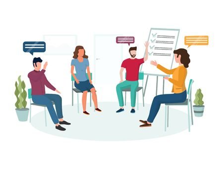 Group psychotherapy vector concept for web banner, website page