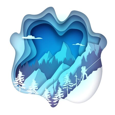 Vector layered paper cut style winter mountains landscape with alpinist climber male silhouette climbing rock with rope. Extreme winter sports. Mountaineering, winter tourism, ice climbing.