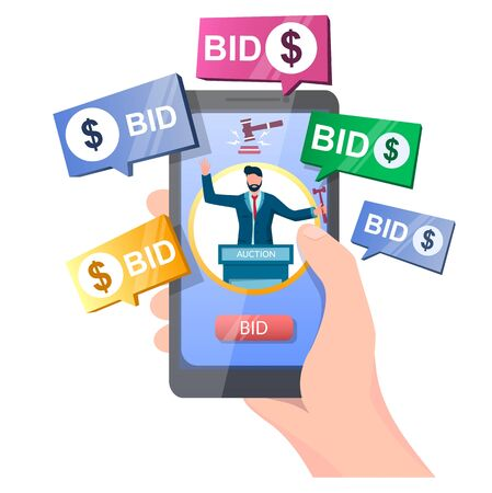 Auction online, vector illustration. Hand holding smartphone with auctioneer, gavel, bid button on screen and bidder messages. Auction and mobile bidding concept for web banner, website page etc.