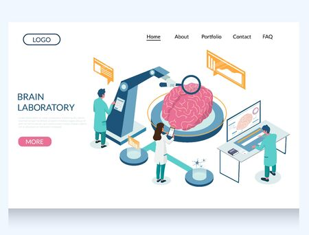 Brain laboratory vector website landing page design template