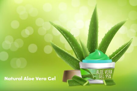 Aloe vera gel vector advertising poster template Stock Illustratie