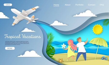 Tropical vacations vector website template, web page and landing page design for website and mobile site development. Loving couple romantic honeymoon, summer beach holidays, layered paper cut style.