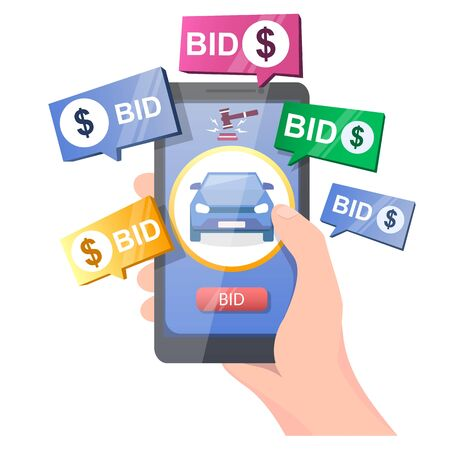 Car auction online, vector illustration. Hand holding smartphone with car, gavel and bid button on screen. Auction and mobile bidding concept for web banner, website page etc.