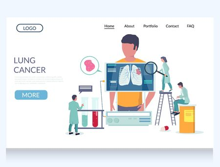 Lung cancer vector website landing page design template Vektorové ilustrace