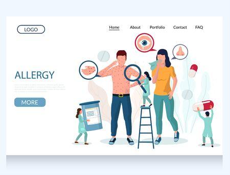 Allergy vector website landing page design template