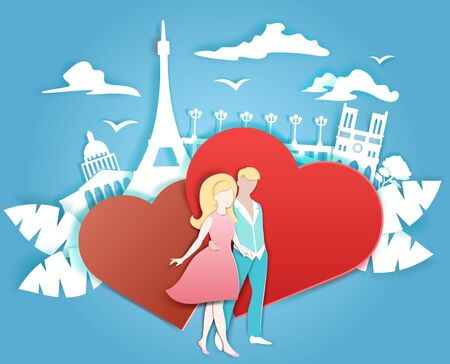 Happy loving couple, two red hearts and Paris famous and beautiful landmarks, vector illustration in paper art craft style. Romantic love, honeymoon travel composition for card, poster, banner etc. Illustration