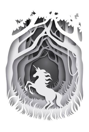 Unicorn, magical and mythical fairy tale character silhouette, vector illustration. Fairytale composition in paper art craft style. Illusztráció