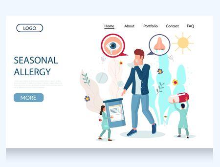 Seasonal allergy vector website landing page design template