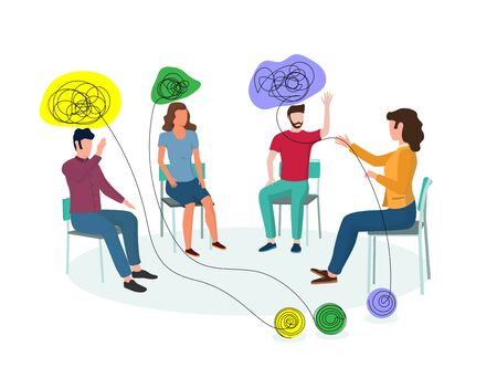 Mental health professional, female working with small group of clients having psychological, emotional, interpersonal problems, vector illustration. Group psychotherapy, psychological help concept.