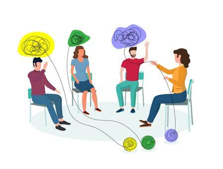 Professionnelle de la santé mentale, femme travaillant avec un petit groupe de clients ayant des problèmes psychologiques, émotionnels, interpersonnels, illustration vectorielle. Psychothérapie de groupe, concept d'aide psychologique. Vecteurs