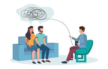 Ilustración plana de vector de sesión de psicoterapia. Psicoterapeuta consejería pareja que tiene problemas de relación. Terapia familiar, concepto de servicios psicológicos para banner web, página web, etc.