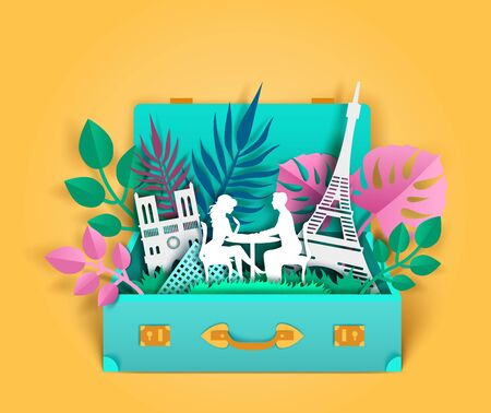 Travel to Paris, vector paper cut illustration 向量圖像