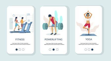 Gym mobile app onboarding screens vector template