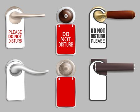 Metal door handle with hanger set, vector isolated illustration