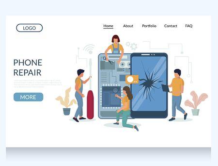 Phone repair vector website landing page design template Illusztráció
