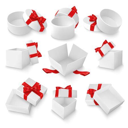 White open gift box mockup set, vector isolated illustration