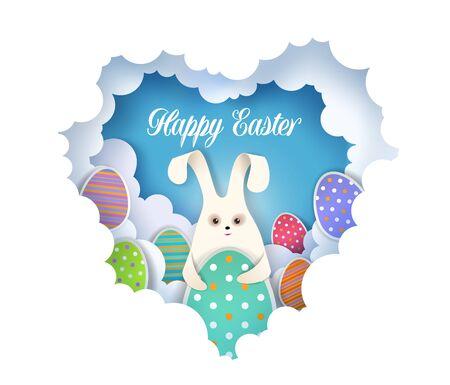 Modèle de carte de voeux Joyeuses Pâques, illustration vectorielle dans un style art papier