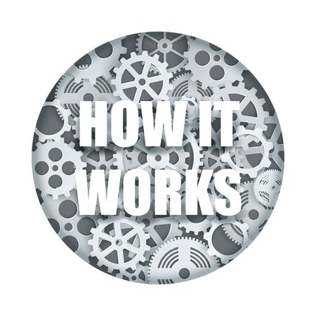 How it works, clock mechanism vector paper cut illustration