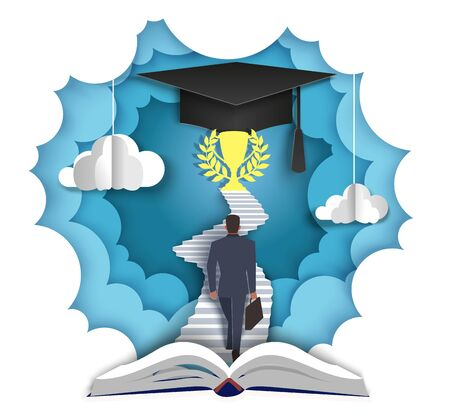 Businessman walking up stairs leading to trophy cup and graduation hat at the end, vector layered paper cut style illustration. Path to knowledge, professional growth concept for poster, banner etc.