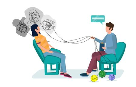 Psychotherapy session vector flat illustration. Psychotherapist counseling patient having mental health problems. Individual therapy concept for web banner, website page etc.