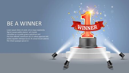 Be a winner web banner, poster design vector template. Realistic winner round pedestal with number one and ribbon illuminated by floor spotlights. 일러스트