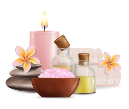 Vector realistic illustration of aroma candles, salt, massage stones, oil bottles, frangipani flowers, towels. Health and wellness spa treatment composition for poster, banner, flyer, business card. Illustration