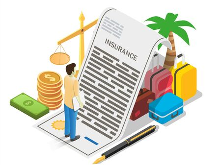 Travel insurance concept vector illustration. Isometric composition with insurance policy, pen, money, scales of justice, suitcases and traveler male cartoon character for poster, banner, website page Stock fotó - 138437800