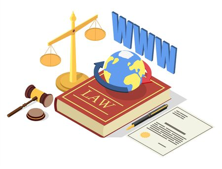 Web law vector concept illustration. Legal symbols Law book with earth globus, scales of justice, judge gavel, agreement. Isometric composition for web banner, website page, etc. Çizim