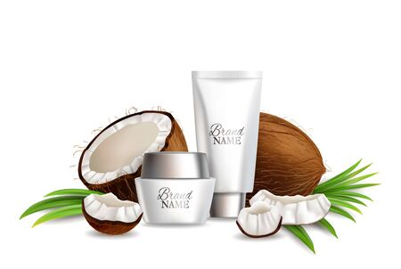 Natural coconut cosmetics, vector illustration. Realistic coco fruit whole, half and pieces, cream tube, jar, palm leaves. Coconut skin care product composition for poster, banner, etc. Illustration