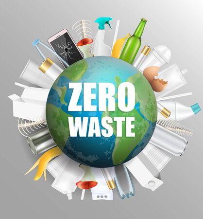 Planet Earth Globus mit Zero Waste Slogan und Hausmüll drumherum, Vektorillustration. Retten Sie den Planeten, das Leben ohne Plastik, stoppen Sie das Konzept der Naturverschmutzung für Poster, Banner, Flyer usw. Vektorgrafik
