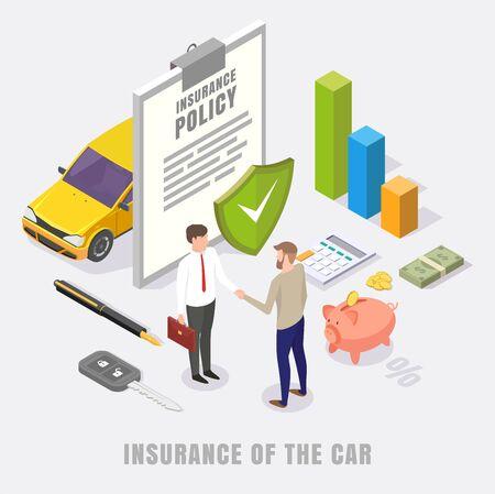 Ilustración isométrica plana de vector de concepto de seguro de coche Ilustración de vector