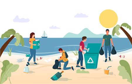Volunteer team group of young people male and female characters collecting garbage on beach, vector flat illustration. Beach cleaning, volunteering, ecology concept for web banner, website page etc.