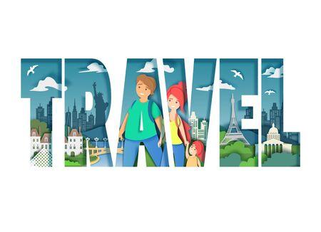 Worldwide travel, vector paper cut style illustration