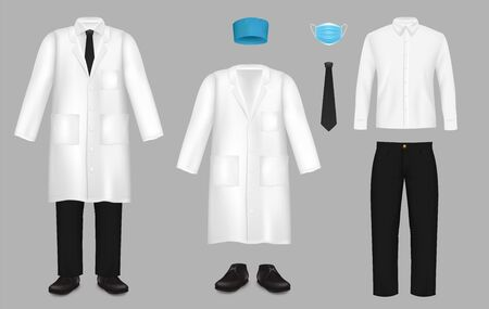 Realistic doctor suit set, vector isolated illustration
