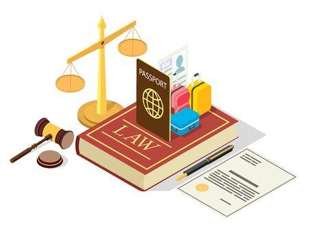 Immigration regulation law vector flat isometric illustration