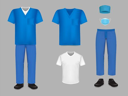 Medical uniform scrub set, vector isolated illustration