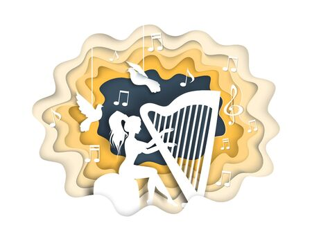Girl playing harp, vector illustration in paper art style Vectores