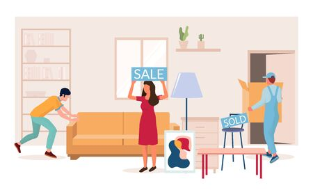 Home furniture sale, vector flat illustration. Special offers, seasonal and holiday discounts in furniture store composition for web banner, website page etc. Vektorové ilustrace
