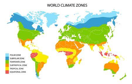 Zones climatiques mondiales, infographie géographique vectorielle. Carte climatique mondiale, science de la géographie.