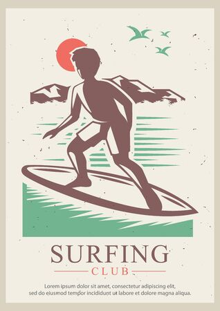 Surfing club vector retro poster design template Stock Illustratie