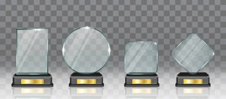 Realistic glass acrylic trophy award set, vector isolated illustration Stock Illustratie