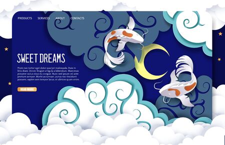 Sweet dreams vector website landing page design template