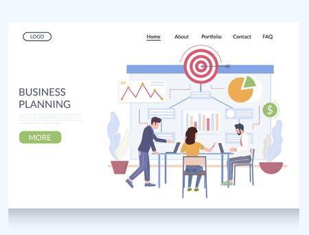 Business planning vector website template, web page and landing page design for website and mobile site development. Work process management, scheduling, business strategy, goal. Stock Illustratie