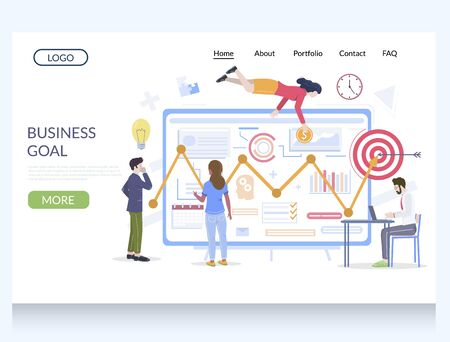 Business goal vector website template, web page and landing page design for website and mobile site development. Goal achievement, reach target.