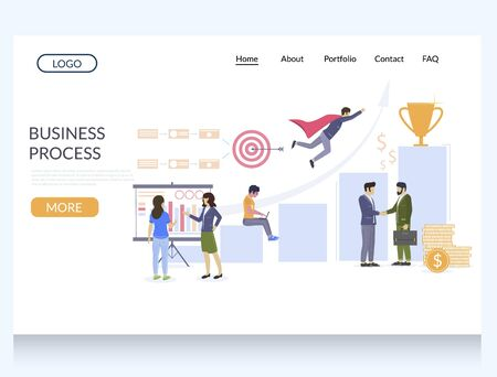 Business process vector website template, web page and landing page design for website and mobile site development. Business growth, achievements, workflow.