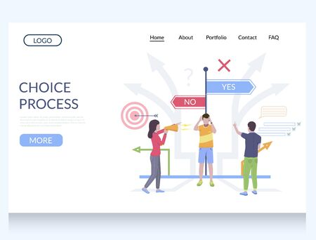 Choice process vector website template, web page and landing page design for website and mobile site development. Decision making.